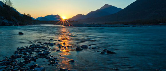 Sonnenuntergang am Lech